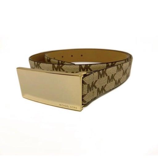 MICHAEL KORS 32mm Gold Plaque Logo Brown Belt NWT