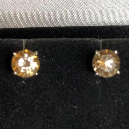 Genuine 2 Cts Champagne Diamond Stud Earrings