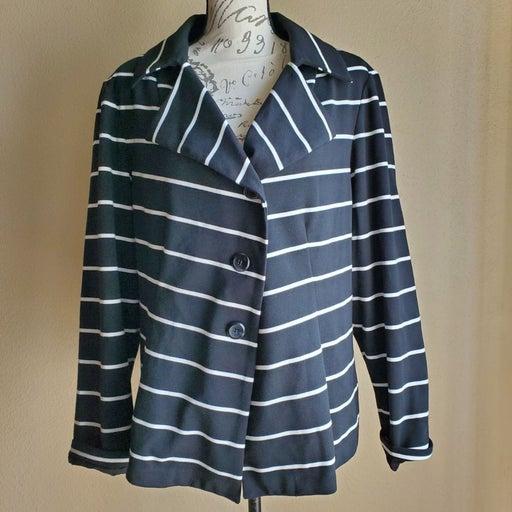 Chico's Stripe Jacket Blazer, black & wh