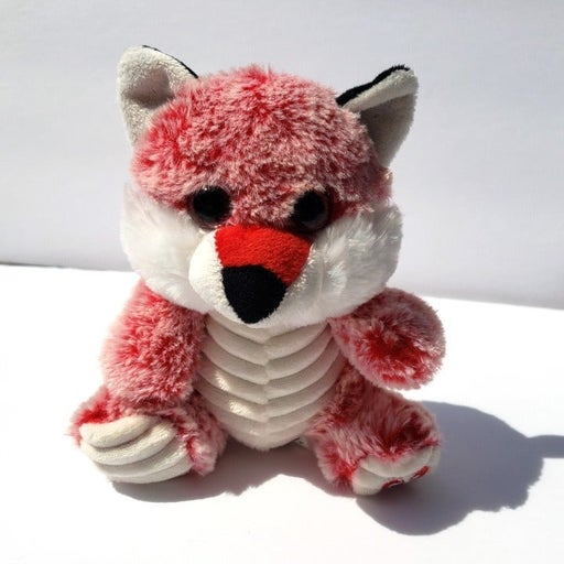 """Kellytoy Valentine Ribbed Red 8"""" Frosted Fox Plush Kelly Toy stuffed animal"""