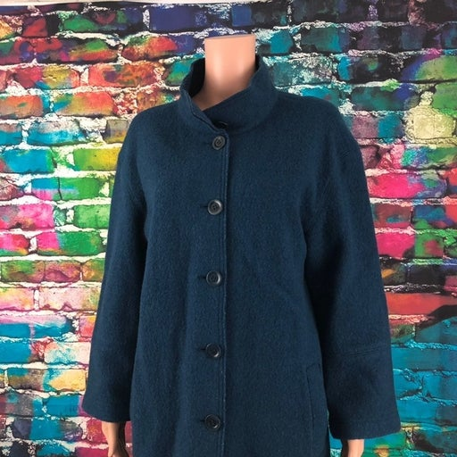 Womens Talbots Petite Blue Pea Coat