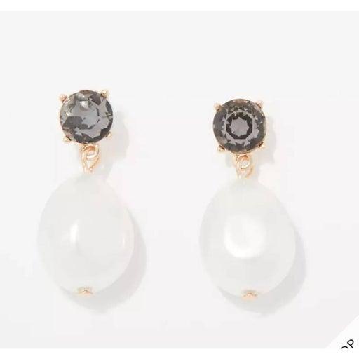 NWT LOFT Pearl & Rhinestone Gold Mini Drop Earrings