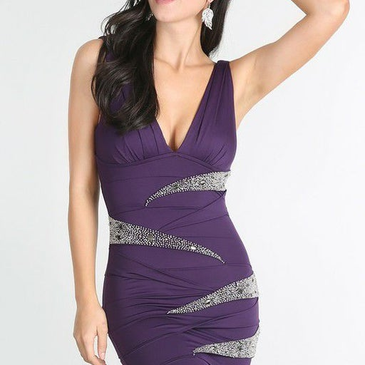 Ladies Sexy  Purple Plunge Plea Dress