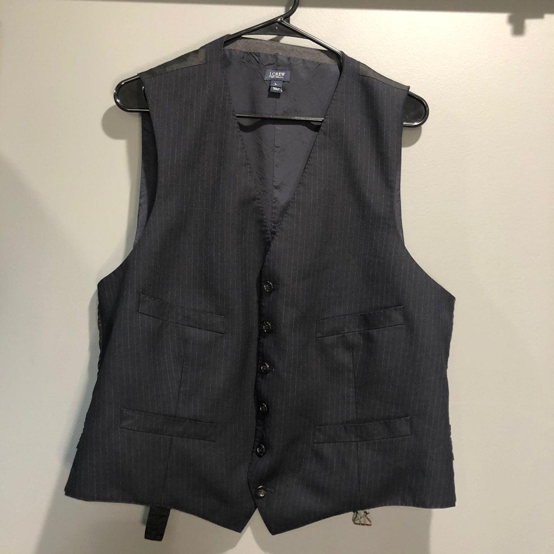 J. Crew Mens Pinstripe Suit Vest Large