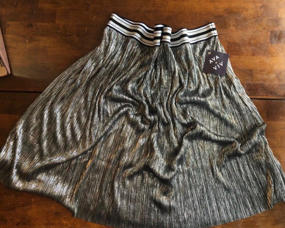 Ava & Viv Women's Skirt Metallic Silver