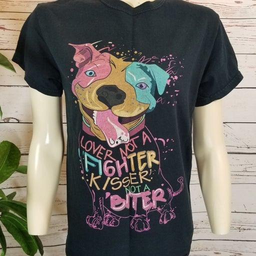 Dog T-shirt Lover not fighter kisser not biter Pitbull Vintage Small #874