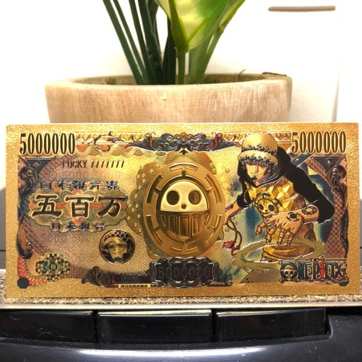 24k Gold Plated Trafalgar D. Water Law (One Piece) Banknote