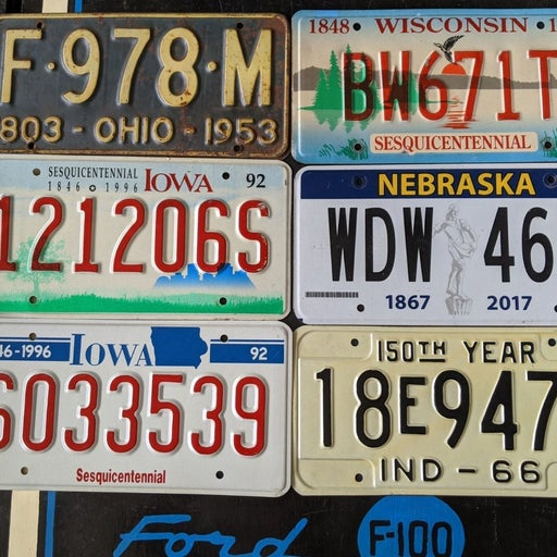Sesquicentennial license plate 6 plates