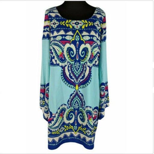 Pink Owl Sz M Women's Blue Paisley Print Long Sleeve Scoop Back Shift Dress