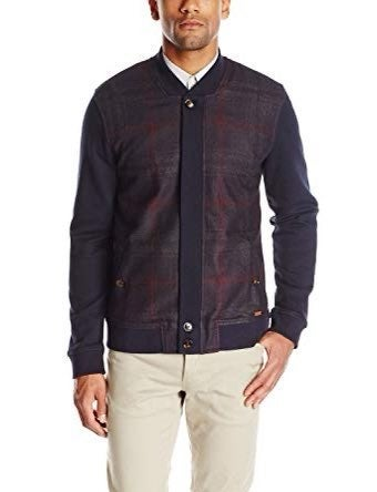Ted Baker Plaid Jersey Bomber Jacket