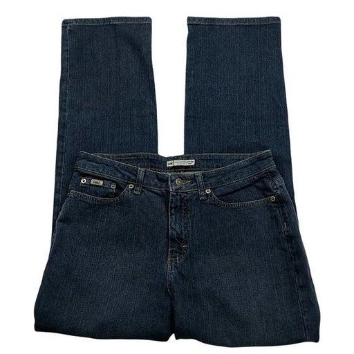 Lee Just Below The Waist Jeans Natural Straight Leg Size 10 Medium Dark Wash
