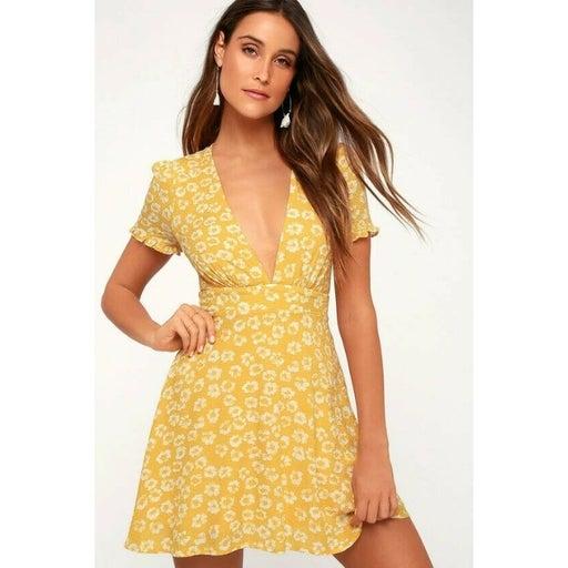 Lulu's Garden Explorer Floral Print Mini Dress Large Yellow Empire Waist