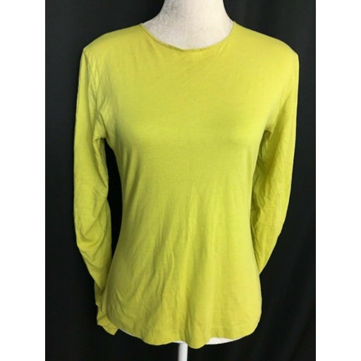 Pure Dkny Womens Solid Yellow Green Moss Long Sleeve Top 100% Cotton Small