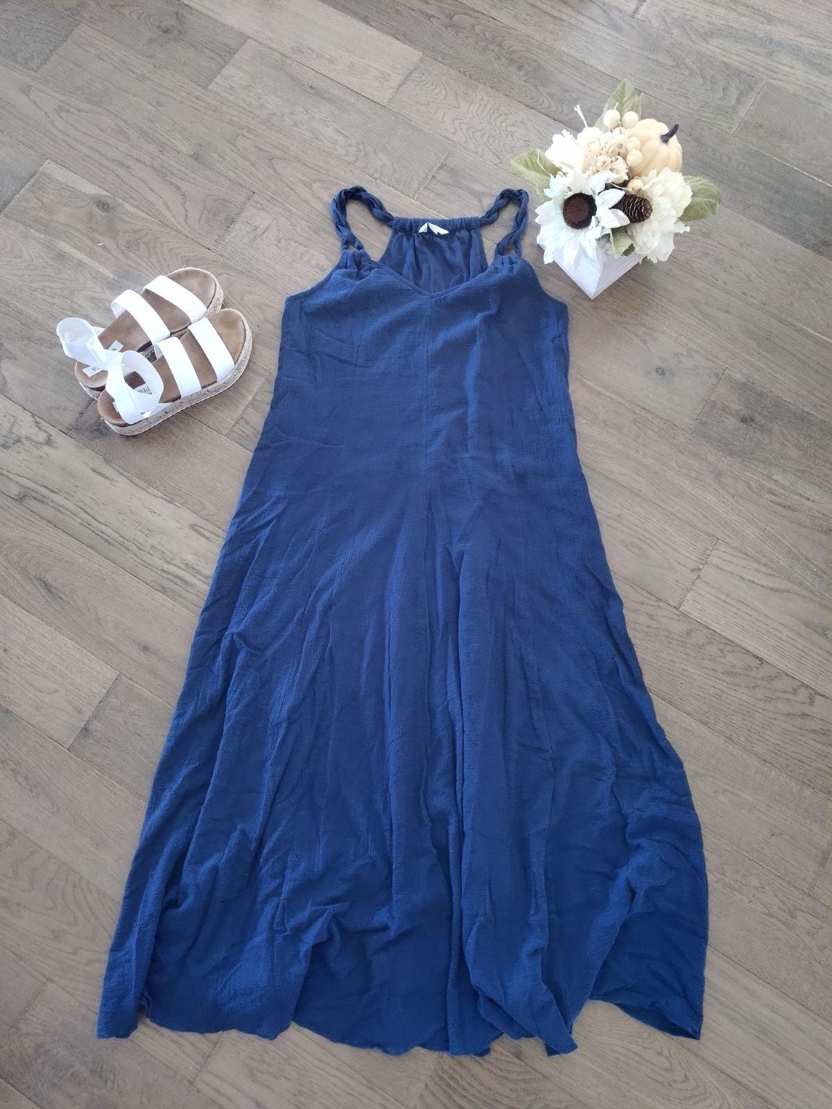 Garnett Hill Midi Dress Blue