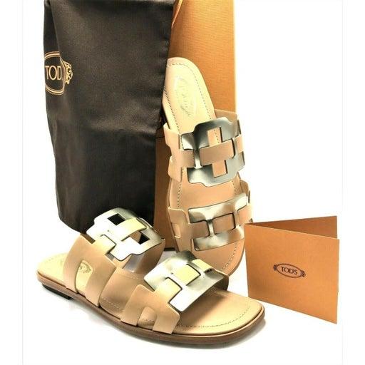 TOD'S Italian Leather Slide Flat Sandals