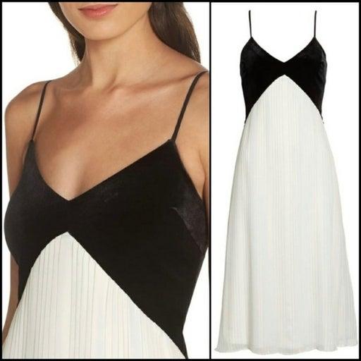 AVEC LES FILLES Velvet & Pleated Dress