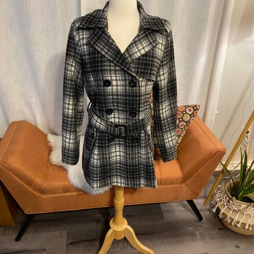 Plaid Double Breasted Peacoat