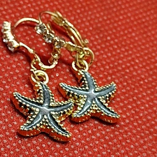Gold Star Fish Dangle Earrings