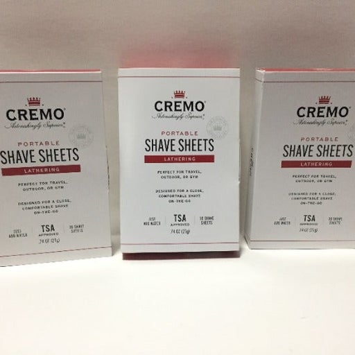 CREMO PORTABLE SHAVE SHEETS LATHERING
