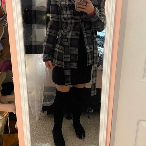 S plaid peacoat from Say What?