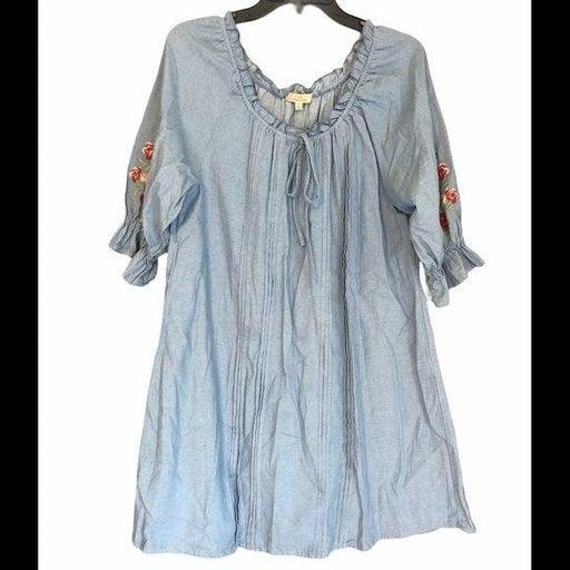 Chelsea & Violet Cotton Blue Embroidered Dress S