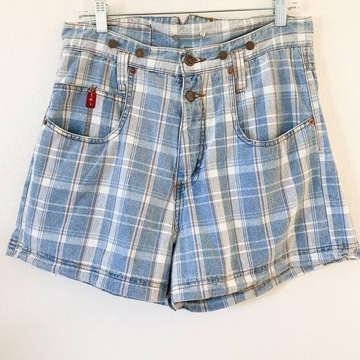 VINTAGE 90s l.e.i Checked Denim Shorts