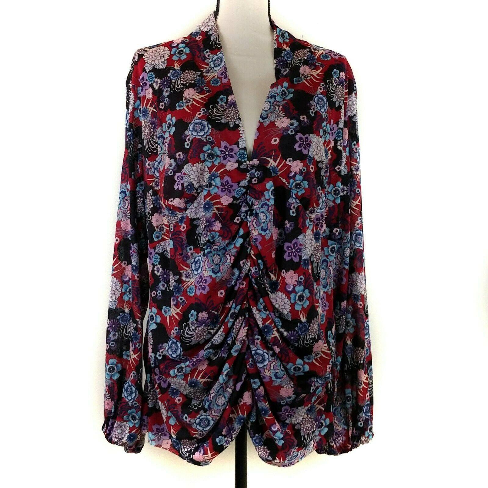 Bisou Bisou Blouse 3X Red Black Floral