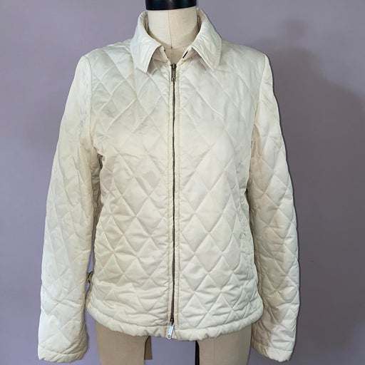 Burberry polyester cream quilted zip up