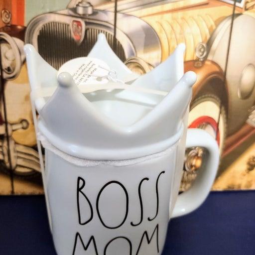 Rae Dunn blue Boss Mom crown topper mug