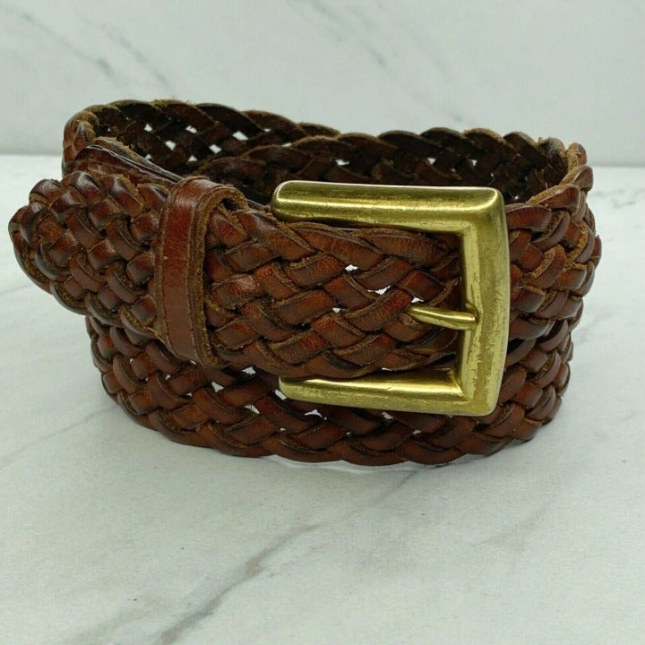 Talbots Vintage Braided Woven Brown Belt