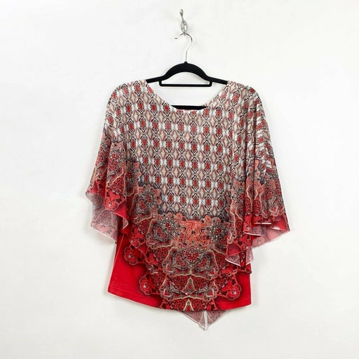 Live and Let Live Red Boho Print Top