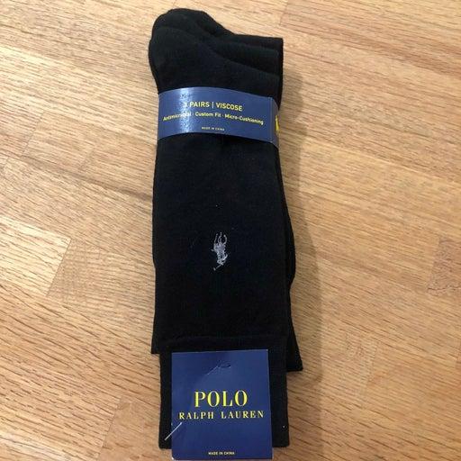 Polo Ralph Lauren Mens Black Dress Socks 3 Pair New!