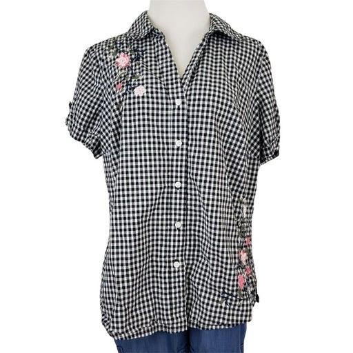 Karen Scott Gingham Check Short Sleeve Embroidered Top Plus Size 16