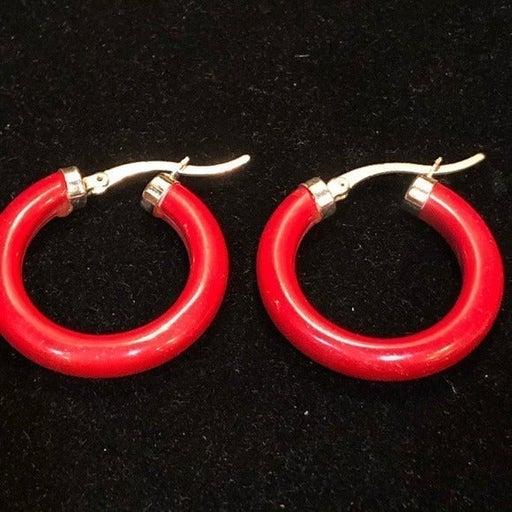 Lovely Red Coral Enamel Hoop Earrings