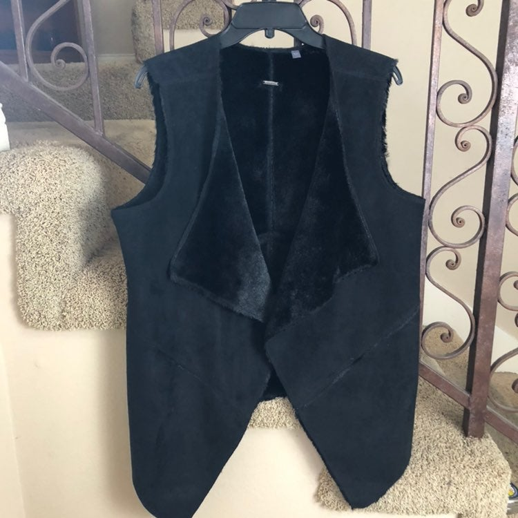 Guess Black Faux Suede Vest Draped Front
