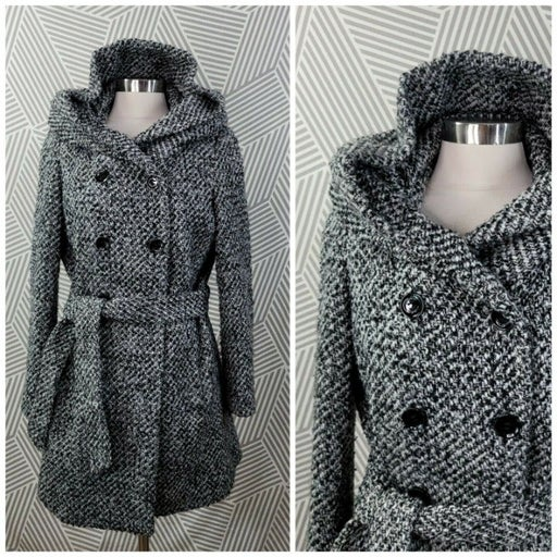 Calvin Klein Wool Coat Peacoat Size 8 Jacket Winter Career Hooded Tweed Button