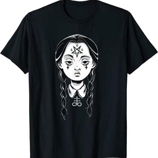 Satanic Goth Punk Girl Creepy Devil Pentagram Punk Rock T-Shirt 3