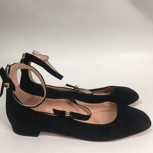 J. Crew Poppy Two Strap Black Suede Ballet Flats