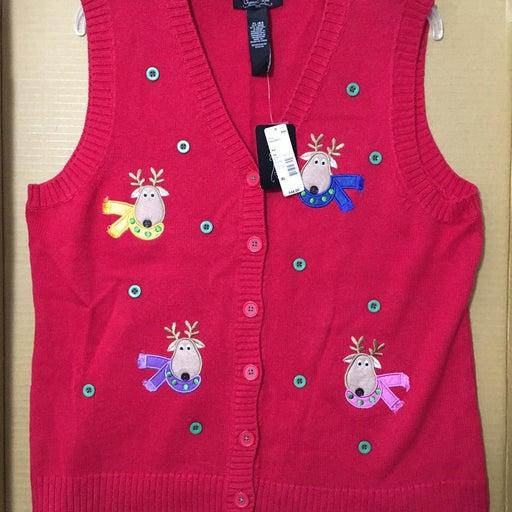 NWT Crystal Kobe Sears Christmas Sweater Vest XL Holiday deer ugly grandma new c