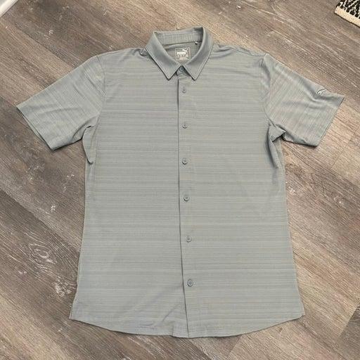 Puma Grey Buttonup Polo Shirt Men M