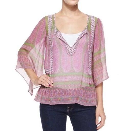 Calypso St Barth Entisse Sheer Silk Blouse Top M