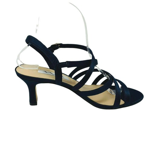 New Nina Womans Genaya Heel Sandals Sz 7.5W Wide Blue Formal NIB