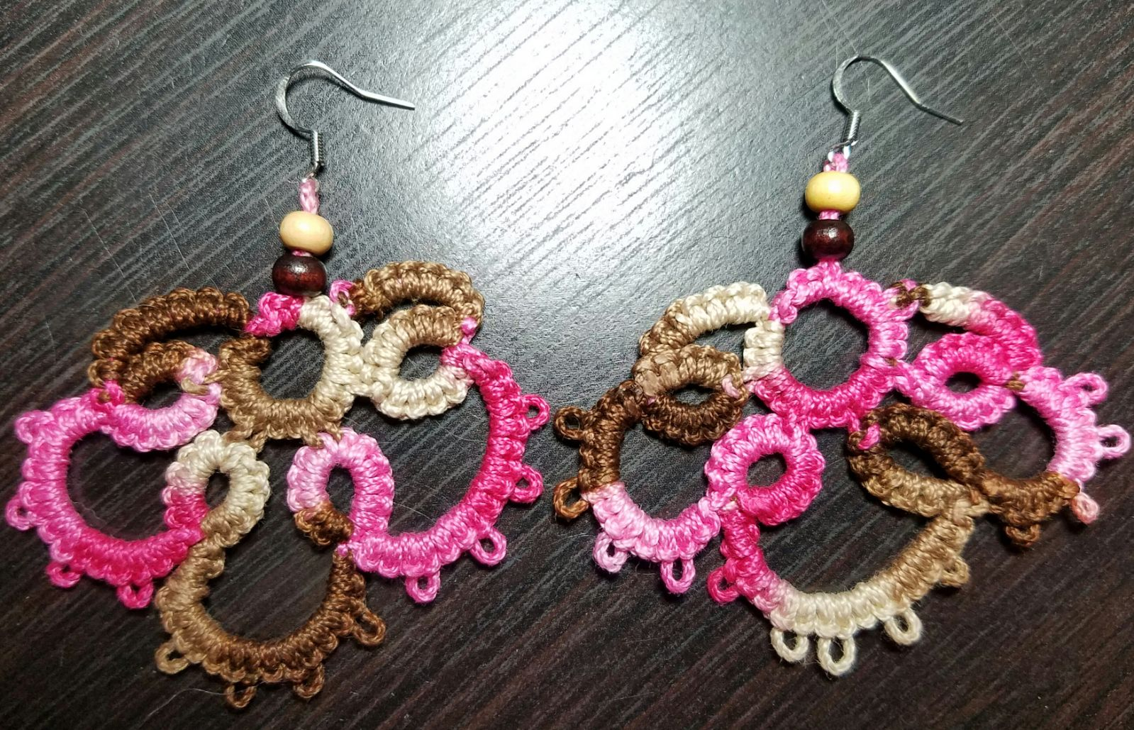 Handcrafted Pink camo tatted earrings