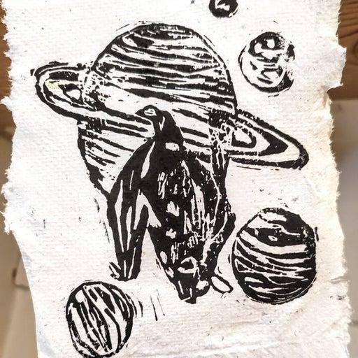 4x6 Handmade bat art print with upcycled