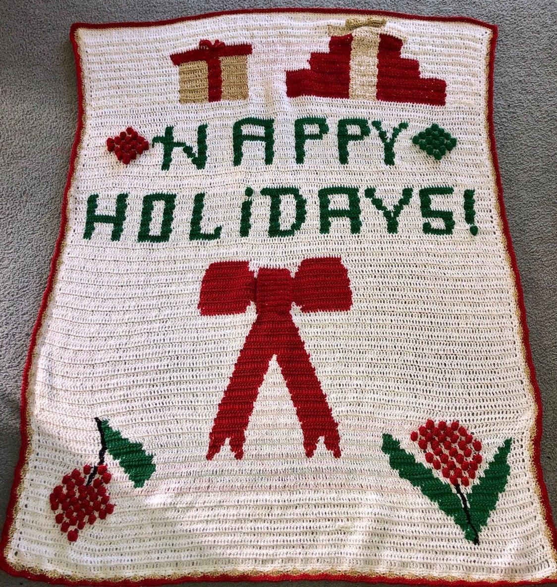 Crocheted holiday blanket