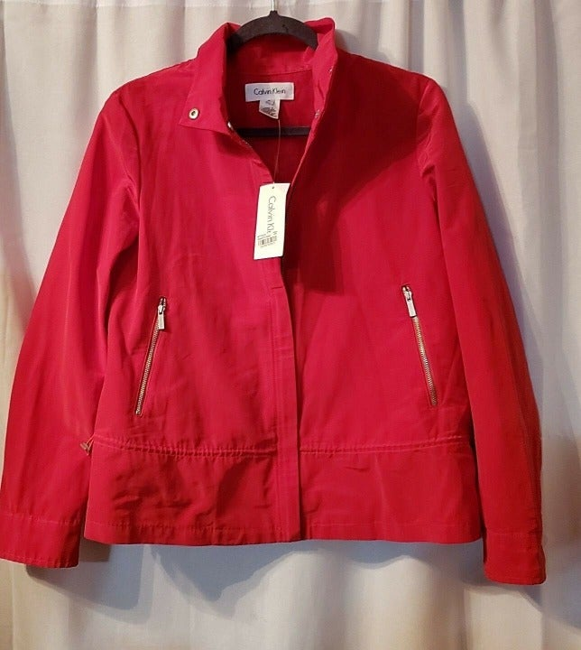 Calvin Klein Red Rain Jacket Size Small