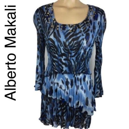 Alberto Makali Blue Print Metal Rivet Trim Long Sleeve Layer Top L