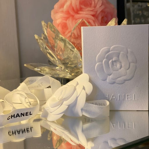Chanel camellia flower with ribbon and r