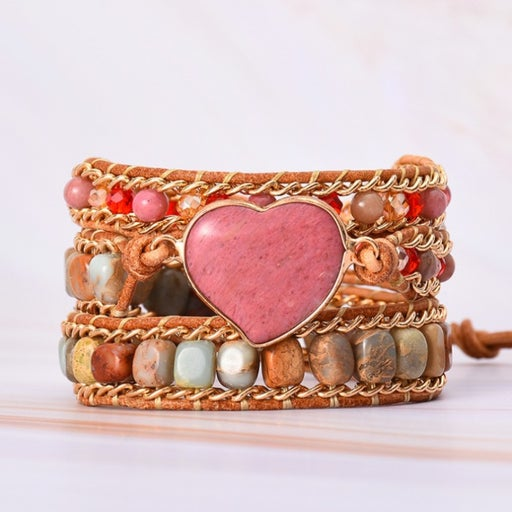 Natural Rhodochrosite Heart Stone Healing Balance Bracelet