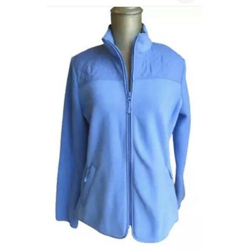 Talbots Womens Fleece zipped front Jacket Size Medium petite Blue